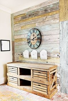 I just saw this same unit for sale at Vintage Home in St Helena and thought it would be fairly easy to make. Instead of the slatted boxes, I would use old grape lug boxes. I think I will head over to KnockOff wood and find a similar plan for a starting off point.