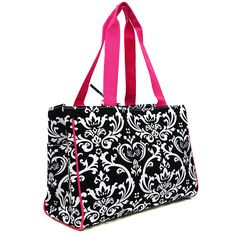Black/Hot Pink Damask Tote $40