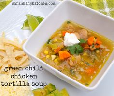 This version of chicken tortilla soup features green chiles and is absolutely delicious!