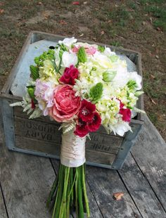 pink, green and white bouquet