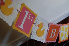 Rubber Duck Birthday Banner Happy 1st Birthday by GiggleBees, $28.00
