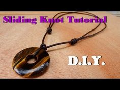 How to make a sliding knot necklace leather cord with donut tiger eye stone handmade - YouTube