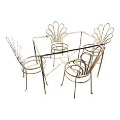 1950s Vintage Metal White Salterini Patio Set- 5 Pieces