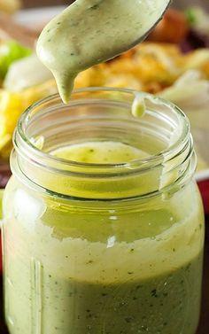 Southwestern Avocado Salad Dressing   |   1 ripe avocado, 1 cup buttermilk, 1/4 cup cilantro, juice of 1/2 lime, 1 teasp ranch seasoning powder, 1/2 teasp garlic powder, 1/2 teaspoon chipotle chili powder, 1/2 teasp salt