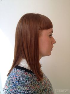women redhead ginger copper short fringe hairstyle