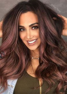 Chocolate Mauve Hair Color Ideas Gold Hair Colors, Hair Color Dark, Cool Hair Color, Brown Hair Colors, Hair Color Green Eyes, Amazing Hair Color, Edgy Hair Colors, Hair Color Ideas For Dark Hair, Hair Color For Morena Skin