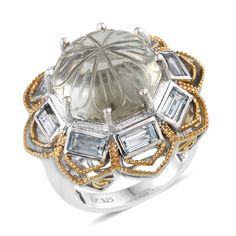 SUGAR by Gay Isber Green Amethyst, Sky Blue Topaz 14K YG and Platinum Plated Sterling Silver Ring (Size 8.0) TGW 21.100 cts.