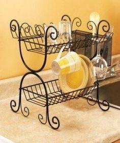 black wrought iron dish rack | BLACK-Wrought-Iron-2-Tier-Dish-Rack-Kitchen-Cutlery-Basket-Metal ...