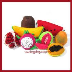 TROPICAL FRUIT - Felt Food PDF Pattern (Guava, Cantaloupe, Pomegranate, Dragon Fruit, Papaya, Mango, Coconut, Watermelon)