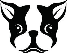 Boston Terrier Silhouette Stencil Clipart