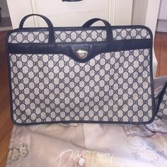 Authentic Vintage Gucci Blue Tote East West style Tote in beautiful vintage condition. Handles are amazing condition. No wear on edges. Will provide more info and pics to serious buyers. Part of a luggage collection. I have about 8 pieces. All is pristine condition.Will accept reasonable offers. Gucci Bags Totes