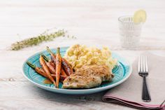 Butter-Basted Chicken with Cacio e Pepe Mashed Potatoes and Thyme-Roasted Carrots