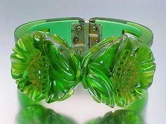 Bakelite Green Translucent Carved Flowers Clamper Bracelet