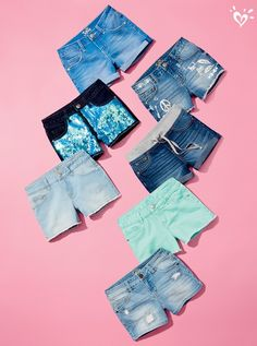 Embellished, distressed and basic faves—we have all the best looks in denim short shorts. Kids Outfits Girls, Cute Girl Outfits, Girls Fashion Clothes, Tween Fashion, Cute Outfits For Kids, Teen Fashion Outfits, Cool Outfits, Summer Outfits, Justice Girls Clothes