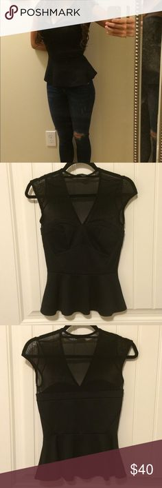 Bebe Black Mesh Peplum Top Bebe black mesh peplum top. Worn once. Perfect condition. Size XS bebe Tops Blouses
