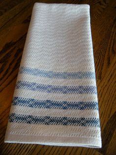 Kitchen Towel Blue and White Handwoven Twill by ThistleRoseWeaving