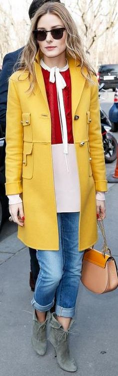 Who made Olivia Palermo's yellow handbag, brown sunglasses, and gray suede boots?