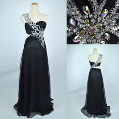 Cheap New Style 2013 One Shoulder Sweetheart with Beading Chiffon Long Black Prom Dress Evening Gown