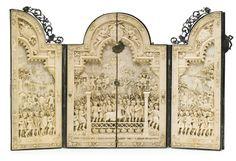 ivory triptych within a jewelled parcel-gilt silver and enamel case, probably German, circa 1875 INSCRIBED:  Exercitus Romanus ponte e naribus constructo Danubium traiicit M. Aurelius cum exercitu suo,  52cm., 20 1/2 in. wide, 36cm., 14 in. high