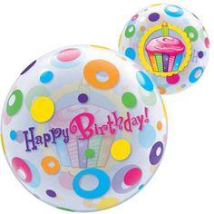 Flotte gennemsigtige balloner til enhver lejlighed, her ses en farverig Happy Birthday ballon på 56 cm i dia. Kan fyldes med luft eller helium, fyldes den med helium svæver den i 10 dage! Kæmpe store balloner på MinTemaFest.dk: Happy Birthday Cup Cake Bubble Ballon - Single