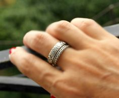 Sterling Silver Floral Ring Flower and Swirl Pattern Band Wedding Band