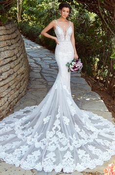 """Kitty Chen """"Kyra"""" Beautiful Embroidered Backless Mermaid Wedding Dress / Bridal Gown with Open Back, V-Neck Cut and Long Train by Kitty Chen Couture Backless Mermaid Wedding Dresses, Used Wedding Dresses, Wedding Dress Sleeves, Long Sleeve Wedding, Designer Wedding Dresses, Bridal Dresses, Wedding Gowns, Bridesmaid Dresses, Backless Wedding"""