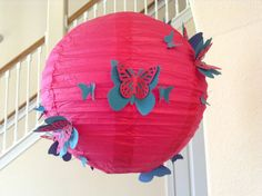 8 inch Pink butterfly paper lantern wedding by New8eginnings, $12.08
