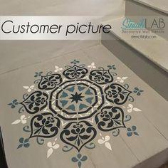 mandala stencil - floor stenciling - floor stencil - floor decor - mandala decor