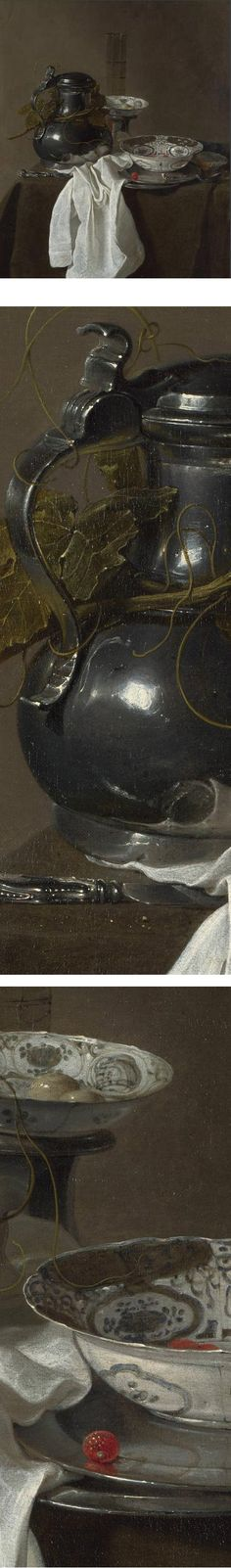 Still Life with a Pewter Flagon and Two Ming Bowls, Jan Jansz Treck. The bowls are an odd color because the artist used a type of smalt (cobalt glass) blue that was not light-fast. In the National Gallery, London.