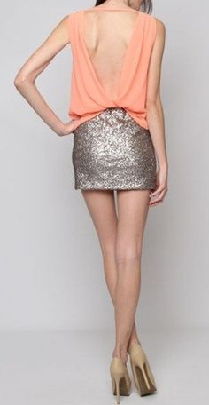 coral + sequin skirt.