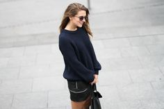 Clochet leather mini skirt navy cozy knit-5