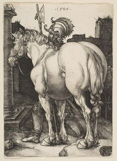 Albrecht Dürer 1471 - 1528 THE LARGE HORSE (B. Engraving, a good clear though slightly later impression, without the scratches on the horse and the blemishes in the sky sheet: 165 by 6 by 4 in Albrecht Durer, Modern Prints, Modern Art, Art Prints, British Museum, Arte Equina, Art Sur Toile, Renaissance Kunst, Harvard Art Museum