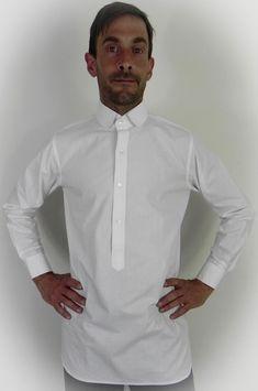 A White Neo Edwardian Poplin Shirt Vintage Groom, Vintage Men, 1920s Mens Clothing, 1930s Fashion, Mens Fashion, Victorian Costume, Wedding Attire, Poplin, Chef Jackets