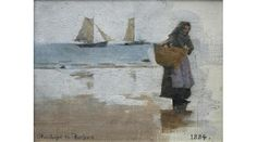 68. FISHERWOMAN ON A BEACH | This  work led to Stanhope Forbes's best-known painting 'Fish Sale on a Cornish Beach' (1885). Arriving Newlyn January 1884, Forbes wrote to his mother: 'The wet sands and the fish and the people buying is what has determined me to stop - but I don't know whether it is to be painted'. This painting was done February 1884 - plein-air, square brush painting that characterised the Newlyn School, which changed the course of British art.     ✫ღ⊰n