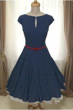 dd7ab8fabf4 Retro šaty puntíky kolová sukně spodnička modrá modré šaty léto pásek  handmade ruční výroba česká výroba