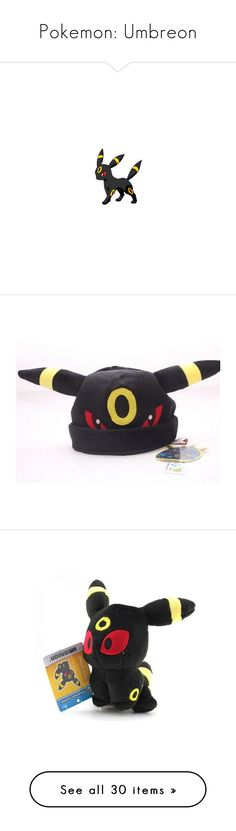 """""""Pokemon: Umbreon"""" by xxstay-goldxx ❤ liked on Polyvore featuring pokemon, anime, jewelry, necklaces, chain necklaces, chains jewelry, beanie, hats, fillers and plush"""