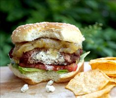 Joan of Arc Brie | Goat Cheese Stuffed Burger with Fig and Onion Jam