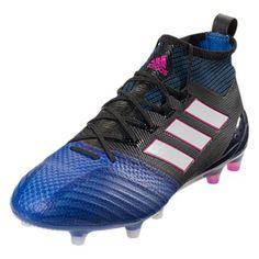buy popular 9766f 9e232 adidas ACE 17.1 Primeknit FG (Black White Blue) Blue Adidas, Soccer