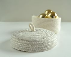 Perfect cotton box with lid in light grey stitching by PALEOLOCHIC on Etsy