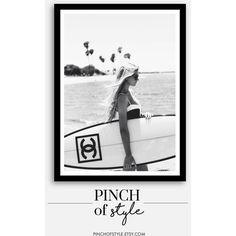 surf art, surf print, Chanel inspired decor, black and white... ($5.60) ❤ liked on Polyvore featuring home, home decor, wall art, surf wall art, black and white wall art, inspirational home decor, photography wall art and black white home decor