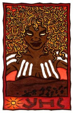 Yhi, Australian Sun Goddess and Creatrix of the Karraru people of Australia, Yhi is said to have created all the plants and animals of Australia, as well as the first humans.  by Thalia Took