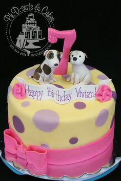 Dog birthday cake with polka dots and a bow