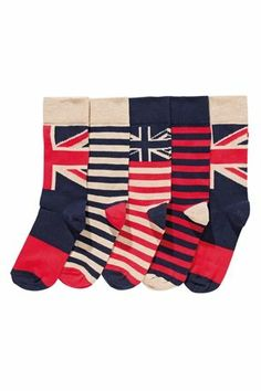 Buy Union Flag Socks Five Pack from the Next UK online shop £12.00