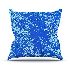 KESS InHouse IL2033BOP03 18 x 18-Inch 'Iris Lehnhardt Twigs Silhouette Blue Aqua' Outdoor Throw Cushion - Multi-Colour * Read more at the image link. (This is an affiliate link)