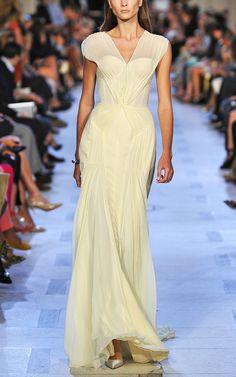 Zac Posen: Arome Yellow Sleeveless Evening Gown