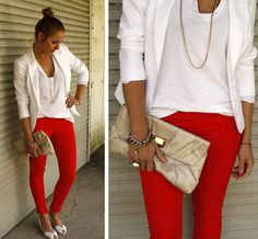 red skinny pants with a white blazer and a killer clutch