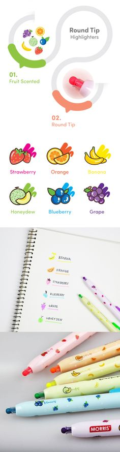 These cute fruit scented highlighters are your new stationery must have. The Round Tip Highlighter Set features 3 or 6 retractable highlighter pens with mouth watering fruit scents. The unique round tip allows for a uniform line no matter how it's turned. It also doesn't dry out as easily! Highlight, draw, and create with a variety of colors and fragrances. These are perfect for students, teachers, and families. Make arts & crafts and even studying fun with this adorable pen set! Check it…