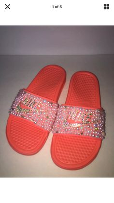 outlet store 39ae7 44db2 Custom Bling Nike Flip Flop Slides Benassi Embellished with high quality  rhinestones and pearls Nike Benassi