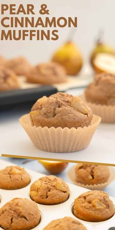 Pear Muffins, Cinnamon Muffins, Healthy Muffins, Fresh Pear Recipes, Pear Dessert Recipes, Pear Recipes Healthy, Healthy Fruits, Healthy Smoothies, Sweet Recipes