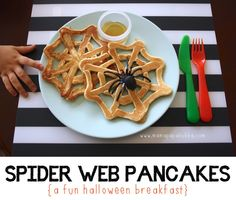 Spider Web Pancakes for Halloween